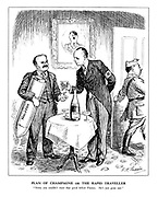 """Plan of Champagne or The Rapid Traveller. """"Sorry you couldn't meet that good fellow Franco. He's just gone out."""""""