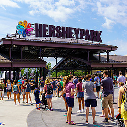 Hershey, PA, USA - September 4, 2020: Visitors stand in line at the entrance of Hersheypark, a popular attraction in Chocolatetown USA.