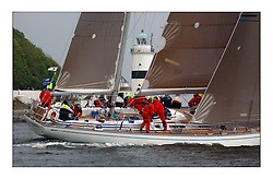Yachting- The first days racing  of the Bell Lawrie Scottish series 2003 at Gourock.  The wet start looks set to last for the overnight race to Tarbert...Desperado, GBR1665, a Swan 65..Pics Marc Turner / PFM