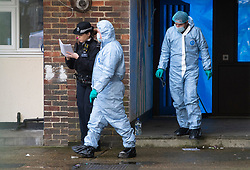 © Licensed to London News Pictures 06/02/2021.        Croydon, UK. Forensics officers have arrived on scene this morning. A man has been killed and ten others have been stabbed with two in a life threatening condition in hospital after a night of knife violence in Croydon, South London. Police have put a large cordon in place at the murder scene in Wisbeach Road. Photo credit:Grant Falvey/LNP