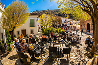 Plaza de la Libertad in the village of Pampaneira, Sierra Nevada National Park, Granada Province, Andalusia, Spain. Pampaneira is the lowest of three whitewashed villages (Bubion and Capileira are above).