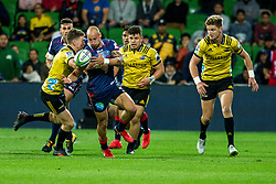 March 30, 2018 - Melbourne, VIC, U.S. - MELBOURNE, AUSTRALIA - MARCH 30 : Billy Meakes of the Melbourne Rebels  is tacklde by Beauden Barrett of the Wellington Hurricanes during Round 7 of the Super Rugby Series between the Melbourne Rebels and the Wellington Hurricanes on March 30, 2018, at AAMI Park in Melbourne, Australia. (Photo by Jason Heidrich/Icon Sportswire) (Credit Image: © Jason Heidrich/Icon SMI via ZUMA Press)