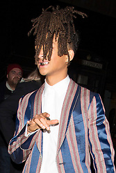 Jaden Smith in a stripy suit, shows off his New Fashion Icon Award at the Fashion Awards after party with female friend. 05 Dec 2016 Pictured: Jaden Smith. Photo credit: MEGA TheMegaAgency.com +1 888 505 6342