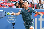 Kei Nishikori at the 2021 Citi Open. Photo by Kyle Gustafson