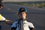 Barbara Buatois na de finish op de eerste wedstrijdavond van de World Human Powered Speed Challenge. In de buurt van Battle Mountain, Nevada, strijden van 10 tot en met 15 september 2012 verschillende teams om het wereldrecord fietsen tijdens de World Human Powered Speed Challenge. Het huidige record is 133 km/h.<br /> <br /> Barbara Buatois after she has finished her record attempt with the Varna. Near Battle Mountain, Nevada, several teams are trying to set a new world record cycling at the World Human Powered Vehicle Speed Challenge from Sept. 10th till Sept. 15th. The current record is 133 km/h.