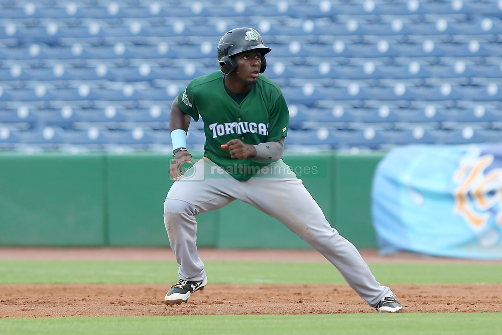 July 17, 2018 - Clearwater, FL, U.S. - TAMPA, FL - JULY 17: Taylor Trammell (5) of the Tortugas takes off for second base during the Florida State League game between the Daytona Tortugas and the Clearwater Threshers on July 17, 2018, at Spectrum Field in Clearwater, FL. (Photo by Cliff Welch/Icon Sportswire) (Credit Image: © Cliff Welch/Icon SMI via ZUMA Press)