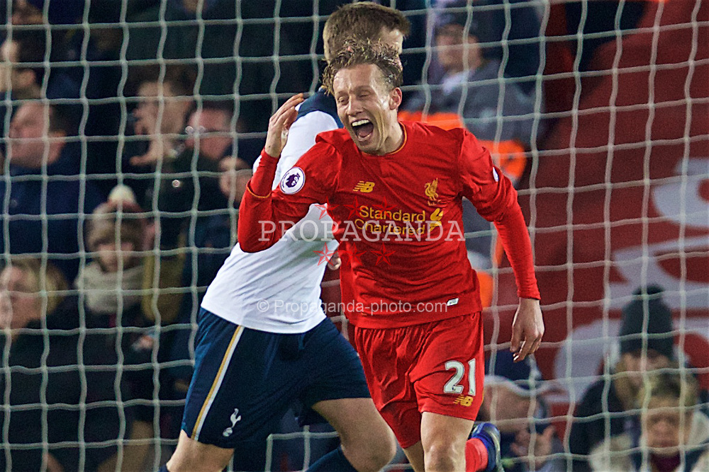 LIVERPOOL, ENGLAND - Saturday, February 11, 2017: Liverpool's Lucas Leiva laughs after missing a chance with a header against Tottenham Hotspur during the FA Premier League match at Anfield. (Pic by David Rawcliffe/Propaganda)