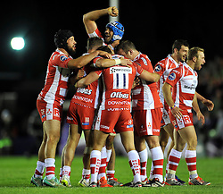The Gloucester team celebrate at the final whistle - Photo mandatory by-line: Patrick Khachfe/JMP - Mobile: 07966 386802 01/05/2015 - SPORT - RUGBY UNION - London - The Twickenham Stoop - Edinburgh Rugby v Gloucester Rugby - European Rugby Challenge Cup Final