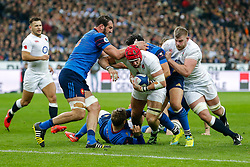 England Flanker James Haskell is tackled by France Inside Centre Maxime Mermoz and Flanker Damien Chouly - Mandatory byline: Rogan Thomson/JMP - 19/03/2016 - RUGBY UNION - Stade de France - Paris, France - France v England - RBS 6 Nations 2016.