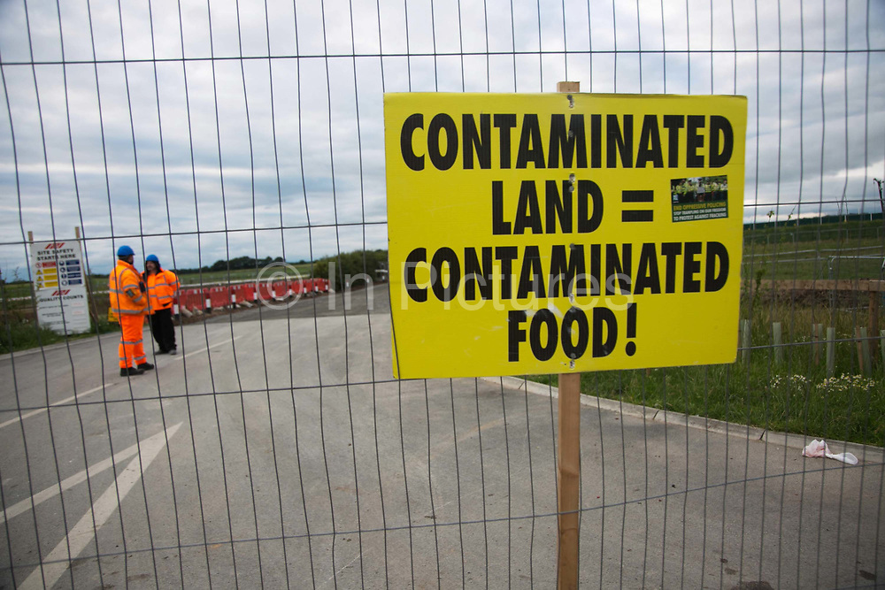 A sign put up by anti-fracking activists in the entrance to  Quadrillas drill site in New Preston Road, June 30 2017, Lancashire, United Kingdom. The blockade is a repsonse to the emmidiate drilling for shale gas, fracking, by the fracking company Quadrilla and part of an ongoing struggle where makeshift towers and makeshift camps have sprung up outside the premisses. Lancashire voted against permitting fracking but was over ruled by the conservative central Government. All the activists have been active in the struggle against fracking for years but this is their first direct action of peacefull protesting. Fracking is a highly contested way of extracting gas, it is risky to extract and damaging to the environment and is banned in parts of Europe . Lancashire has in the past experienced earth quakes blamed on fracking.