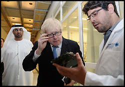 The London Mayor Boris Johnson looks at a circuit board as he tour around Masdar City and meets Sultan Al Jaber, CEO of Masdar and Minister of State for Energy in Abu Dhabi. The Mayor is on a 2 day tour of the UAE, Monday April 15, 2013. Photo By Andrew Parsons / i-Images