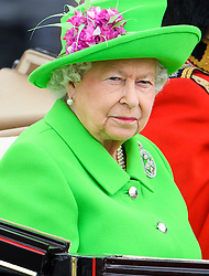 © Licensed to London News Pictures. 11/06/2016. London, UK. QUEEN ELIZABETH II and PRINCE PHILIP in a horse drawn carriage during the Trooping The Colour ceremony in London. This years event is part of a weekend of celebration to mark the 90th birthday of Queen Elizabeth II, who is Britain's longest reigning monarch. Photo credit: Ben Cawthra/LNP