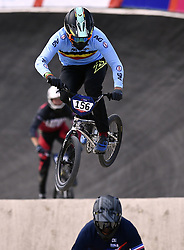 August 11, 2018 - Glasgow, UNITED KINGDOM - Belgian BMX cyclist Mathijs Verhoeven pictured in action during the 1/8 finals of the men's BMX event at the European Championships, in Glasgow, Scotland, Saturday 11 August 2018. European championships of several sports will be held in Glasgow from 03 to 12 August. BELGA PHOTO ERIC LALMAND (Credit Image: © Eric Lalmand/Belga via ZUMA Press)