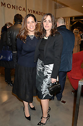 Left to right, MONICA VINADER and TANIA FARES at a party to celebrate the launch of the Monica Vinader London Flagship store at 71-72 Duke of York Square, London SW3 on 4th December 2014.