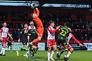 Stevenage goalkeeper Paul Farman(1) claims the ball during the EFL Sky Bet League 2 match between Stevenage and Forest Green Rovers at the Lamex Stadium, Stevenage, England on 26 December 2019.