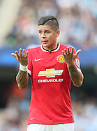 Marcos Rojo of Manchester United holds his hands up in frustration - Barclays Premier League - Manchester City vs Manchester Utd - Etihad Stadium - Manchester - England - 2nd November 2014  - Picture David Klein/Sportimage