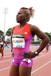 Samsung Diamond League adidas Grand Prix track & field; women's 100 meters, post race, Schillone Calvert, JAM, , USA