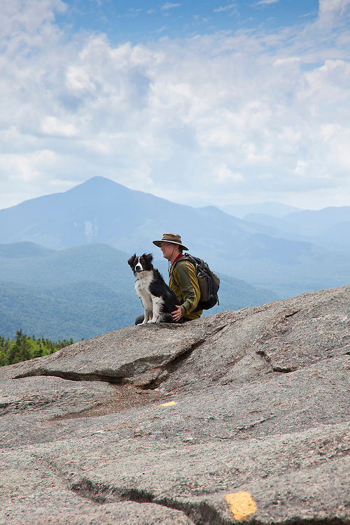 hiker and dog on Cascade Mt