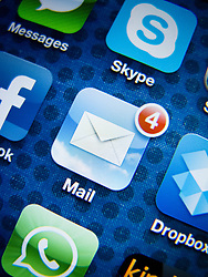 detail of iPhone 4G screen showing Google Mail app