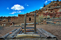 Wood ladder to the underground Kiva at Kelly Place near Cortez, Colorado. Image taken with a Nikon D3 camera and 14-24 mm f/2.8 lens (ISO 200, 24 mm, f/11, 1/400 sec).