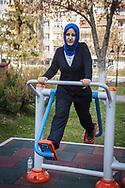 Sumeye Ozdemir, a trainee teacher in Kayseri during her morning exercises in Alparslan Park.