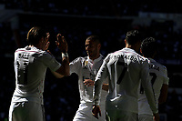 Real Madrid´s Gareth Bale, Karim Benzema and Cristiano Ronaldo celebrates a goal during 2014-15 La Liga match between Real Madrid and Granada at Santiago Bernabeu stadium in Madrid, Spain. April 05, 2015. (ALTERPHOTOS/Luis Fernandez)