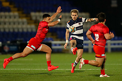 Tony Fenner of Coventry Rugby kicks the ball - Mandatory by-line: Nick Browning/JMP - 26/02/2021 - RUGBY - Butts Park Arena - Coventry, England - Coventry Rugby v Saracens - Friendly