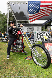 BF11 invited builder Josh Sheehan with his custom 1947 Harley-Davidson W/K at the Born-Free Vintage Motorcycle show at Oak Canyon Ranch, Silverado, CA, USA. Sunday, June 23, 2019. Photography ©2019 Michael Lichter.