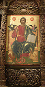 Christ Pantokrator with the symbols of the evangelists. Late 17th Century. The icon represents the stylistic trend developed in the (     ) islands.