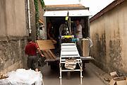 Domaine Le Conte des Floris, Caux. Pezenas region. Languedoc. Mobile bottling line. France. Europe.