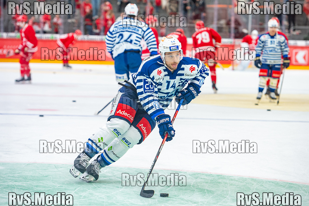 LAUSANNE, SWITZERLAND - OCTOBER 01: Chris Baltisberger #14 of ZSC Lions warms up prior the Swiss National League game between Lausanne HC and ZSC Lions at Vaudoise Arena on October 1, 2021 in Lausanne, Switzerland. (Photo by Monika Majer/RvS.Media)