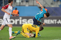 November 23, 2017 - Russia - goalkeeper Filip Gachevski of FC Vardar and forward Sebastian Driussi of FC Zenit during UEFA Europa League Football match Zenit - Vardar. Saint Petersburg, November 23,2017 (Credit Image: © Anatoliy Medved/Pacific Press via ZUMA Wire)