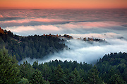 Mt Tamalpaias, Marin county Northern California. Sun setting over the marine layer that is covering stinson beach below.