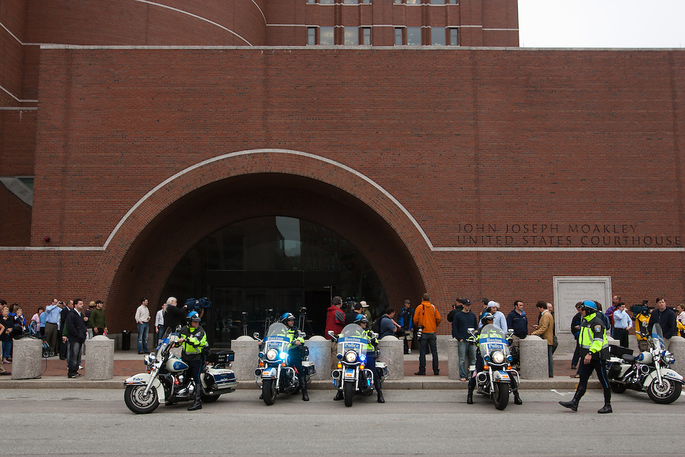 """Boston, MA 06/24/2011.State Police motorcycles line up outside the Moakley federal courthouse before the arraignment of James """"Whitey"""" Bulger on Friday afternoon..Alex Jones / www.alexjonesphoto.com"""