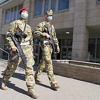 Military police patrol during COVID19 corona virus pandemic in Budapest, Hungary on April 9, 2020. ATTILA VOLGYI
