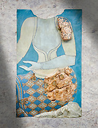 Minoan wall art fresco depicting a female figure, Neopalatial Period, C.1450 BC. Pseira, Crete. Heraklion Archaeological Museum. .<br /> <br /> If you prefer to buy from our ALAMY PHOTO LIBRARY  Collection visit : https://www.alamy.com/portfolio/paul-williams-funkystock/minoan-art-artefacts.html . Type -   Heraklion   - into the LOWER SEARCH WITHIN GALLERY box. Refine search by adding background colour, place, museum etc<br /> <br /> Visit our MINOAN ART PHOTO COLLECTIONS for more photos to download  as wall art prints https://funkystock.photoshelter.com/gallery-collection/Ancient-Minoans-Art-Artefacts-Antiquities-Historic-Places-Pictures-Images-of/C0000ricT2SU_M9w