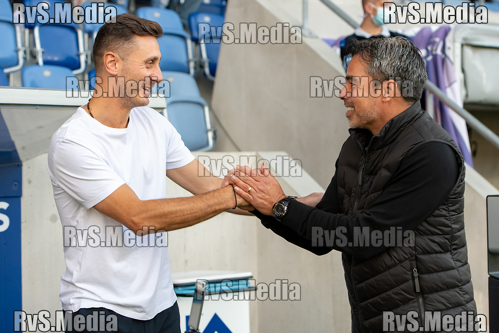 LAUSANNE, SWITZERLAND - SEPTEMBER 22: Head Coach Ilija Borenovic of FC Lausanne-Sport (L) meets with David Wagner Head Coach of BSC Young Boys (R) before the Swiss Super League match between FC Lausanne-Sport and BSC Young Boys at Stade de la Tuiliere on September 22, 2021 in Lausanne, Switzerland. (Photo by Basile Barbey/RvS.Media)