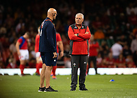 Rugby Union - 2019 pre-Rugby World Cup warm-up (Under Armour Summer Series) - Wales vs. England<br /> <br /> Wales' Head Coach Warren Gatland in discussion with England Defence Coach John Mitchell, at Principality (Millennium) Stadium.<br /> <br /> COLORSPORT/ASHLEY WESTERN