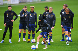 Mansfield Town players warm up prior to kick-off- Mandatory by-line: Nizaam Jones/JMP - 14/11/2020 - FOOTBALL - innocent New Lawn Stadium - Nailsworth, England - Forest Green Rovers v Mansfield Town - Sky Bet League Two