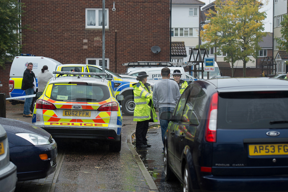 **A Thirteen year-old girl has been arrested in connection with the murder of a man in Basildon, Essex** (c) Licensed to London News Pictures.21/10/2015. Basildon, UK. Police protect the scene of a murder where a man in his 40's was stabbed to death. The victim was found in the street with serious injuries about 9.30pm on the 20/10/2015 an died later in Basildon from his injuries. Photo credit Simon Ford/LNP