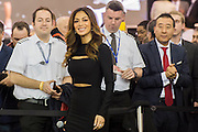 The Sunseeker stand includes Nicole Scherzinger (picturerd) launching the new Predator 57 with the Sunseeker Founder, Robert Braithwaite. The CWM FX London Boat Show, taking place 09-18 January 2015 at the ExCel Centre, Docklands, London. 09 Jan 2015.