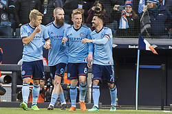 April 29, 2018 - Bronx, New York, United States - New York City defender ANTON TINNERHOLM (3), New York City forward JO INGE BERGET (9), New York City midfielder ALEXANDER RING (8), and New York City forward DAVID VILLA (7) celebrate a goal during a regular season match at Yankee Stadium in Bronx, NY.  NYCFC defeats FC Dallas 3 to 1. (Credit Image: © Mark Smith via ZUMA Wire)