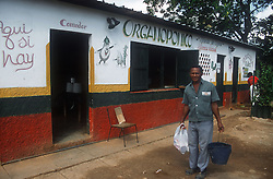 The Rotonda de Cojimar Organoponico or organic allotment garden in Havana; Cuba; showing the building where the dining room and shop are located,