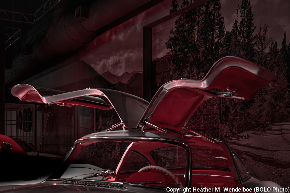 BOLO Photo<br /> Wild West Automotive Photography<br /> Vehicle Vault (2019)<br /> Red Noir<br /> May 3, 2019: Parker, Colorado<br /> (1954 Mercedes 300 SL Gullwing: Vehicle Vault)