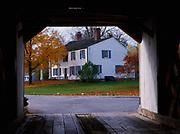 "Silk Road Covered Bridge, ""Henry Bridge,"" built around 1840 a.d., framing home, North Bennington, Vermont."