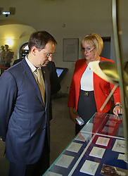 August 2, 2017 - Saint Petersburg, Russia - August 2, 2017. - Russia, Saint Petersburg. - Ceremony to hand over the archive of the Romanov family to the Tsarskoye Selo museum preserve. In picture: Director of the Tsarskoye Selo museum preserve Olga Taratynova and Russian Culture Minister Vladimir Medinsky. (Credit Image: © Russian Look via ZUMA Wire)