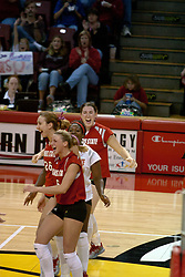 06 November 2004....Redbirds react to a point....Illinois State University Redbirds V SouthWest Missouri State University Bears Volleyball.  Redbird Arena, Illinois State University, Normal IL..Illinois State Redbirds v Southwest Missouri State