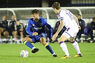 AFC Wimbledon attacker Harry Forrester (11) dribbling during the EFL Trophy match between AFC Wimbledon and Luton Town at the Cherry Red Records Stadium, Kingston, England on 31 October 2017. Photo by Matthew Redman.