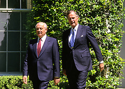 United States President George H.W. Bush, right, walks President Mikhail Gorbachev of the Union of Soviet Socialist Republics, left, to his car following a state arrival ceremony on the South Lawn of the White House in Washington, DC on Thursday, May 31, 1990. It was the start of three days of talks between the two leaders. Photo by Ron Sachs / CNP /ABACAPRESS.COM