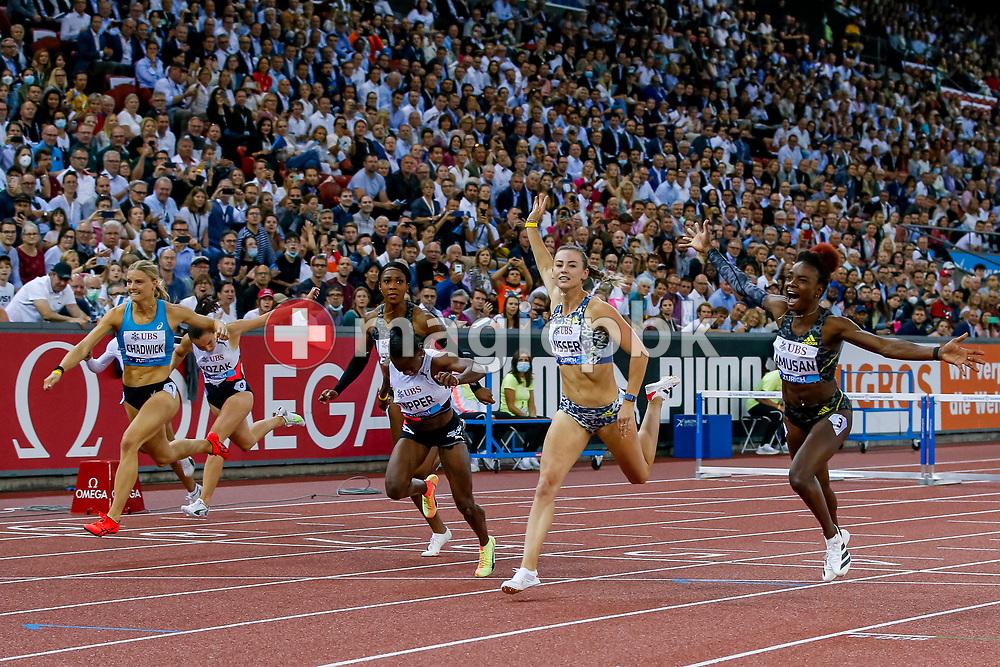 Tobi Amusan (R) of Nigeria celebrates after winning the 100m Hurdles Women during the Iaaf Diamond League meeting (Weltklasse Zuerich) at the Letzigrund Stadium in Zurich, Switzerland, Thursday, Sept. 9, 2021. (Photo by Patrick B. Kraemer / MAGICPBK)